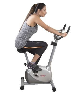 siting and relaxing on an exercise cycle