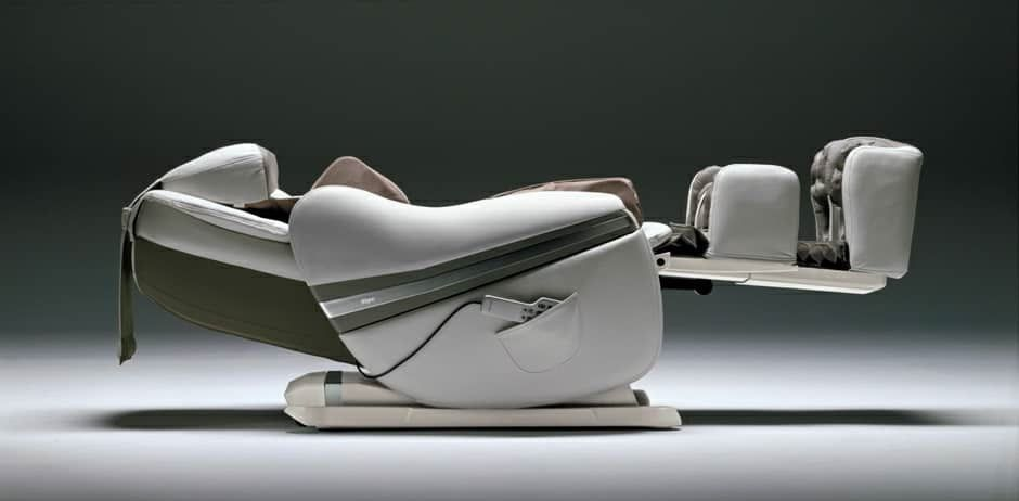A fully expanded massage chair